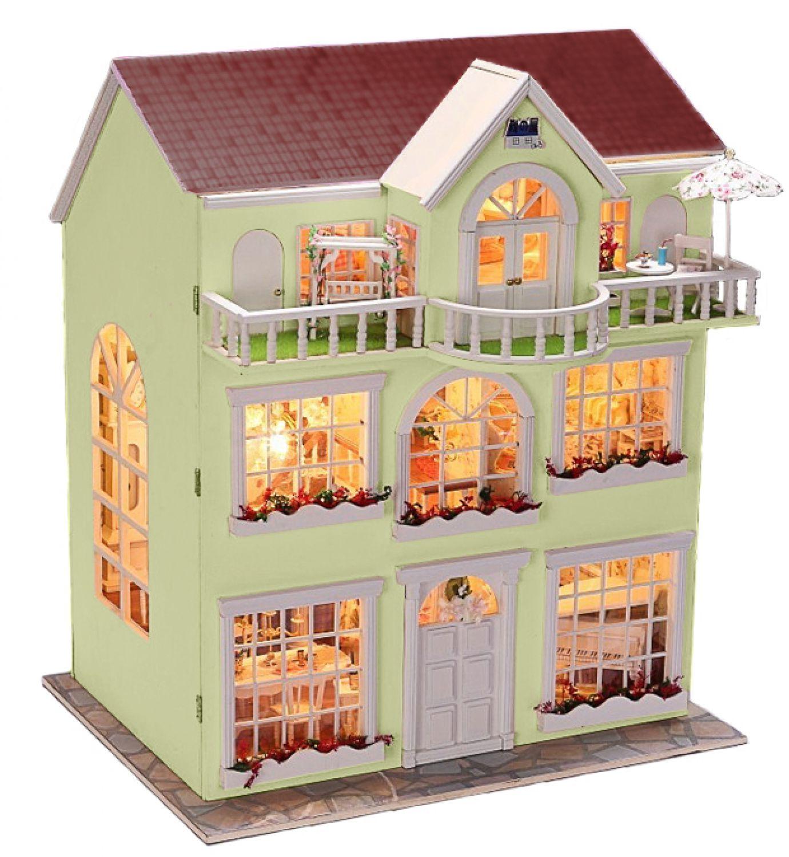 puppenstube miniatur haus puppenhaus bausatz mit einrichtung und beleuchtung diy ebay. Black Bedroom Furniture Sets. Home Design Ideas