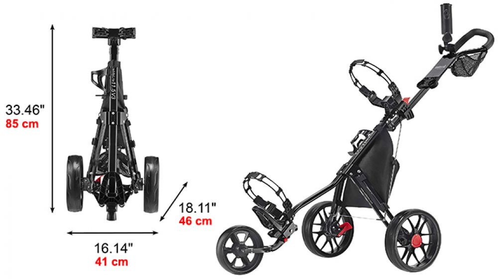 caddytek 11 5 alu 3 rad golf push trolley leichter caddy silber r der schwarz ebay. Black Bedroom Furniture Sets. Home Design Ideas