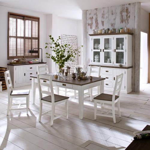 Komplett Landhaus Esszimmer 9-tlg Set massiv weiß braun Esstisch Buffet 6 Stühle  eBay