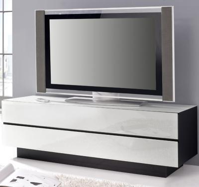 TOP* DESIGN LOWBOARD SCHWARZ MIT GLAS IN WEISS TV KOMMODE SIDEBOARD FERNSEHTISCH  eBay