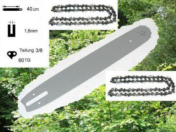 """40cm Schiene 325/"""" 2 Ketten für Stihl 028 AV 028AV Super"""