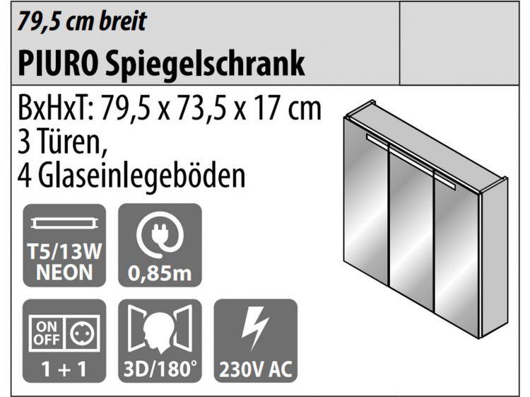 Badm bel fackelmann piuro spiegelschrank 3 t ren - Spiegelschrank 3 turen ...