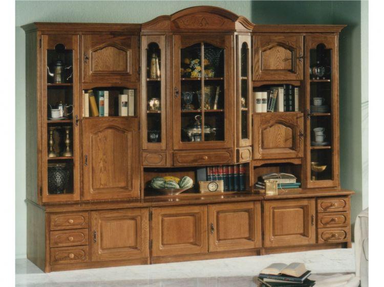 edle wohnwand in eiche rustikal schrankwand anbauwand massiv mit vitrine 5906598657242 ebay. Black Bedroom Furniture Sets. Home Design Ideas