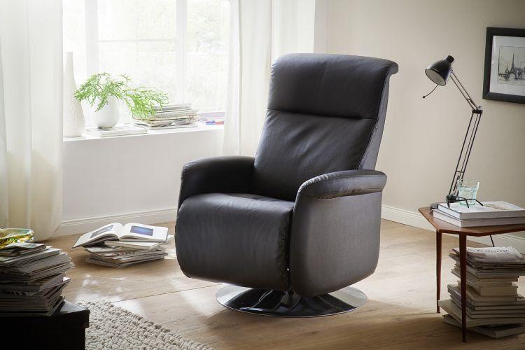 relaxsessel fernseh relax sessel mit klappbarer fu st tze echt leder schwarz ebay. Black Bedroom Furniture Sets. Home Design Ideas