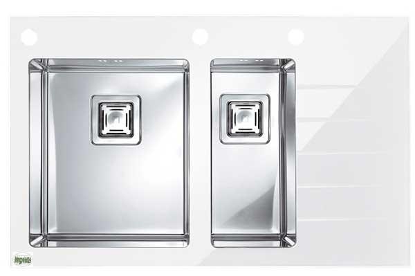 luxus einbauspüle crystalix 20 edelstahl & glas