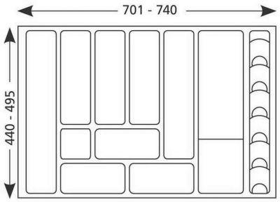 besteck schubladeneinsatz 701 740 mm k rzbar 80 cm besteckkasten 517169 ebay. Black Bedroom Furniture Sets. Home Design Ideas