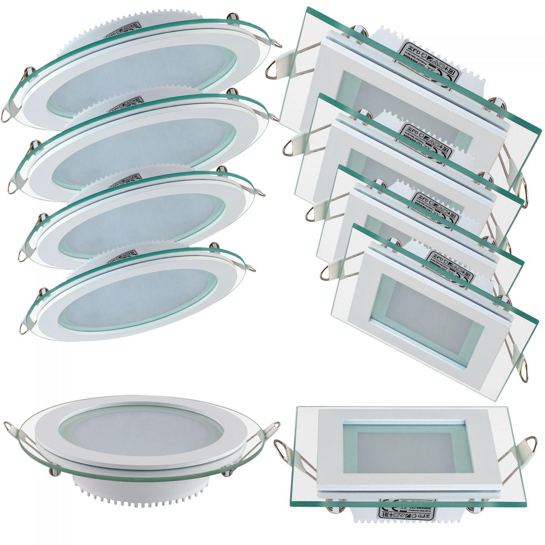 led glas panel flach einbaustrahler einbau deckenleuchte beleuchtung rund eckig ebay. Black Bedroom Furniture Sets. Home Design Ideas