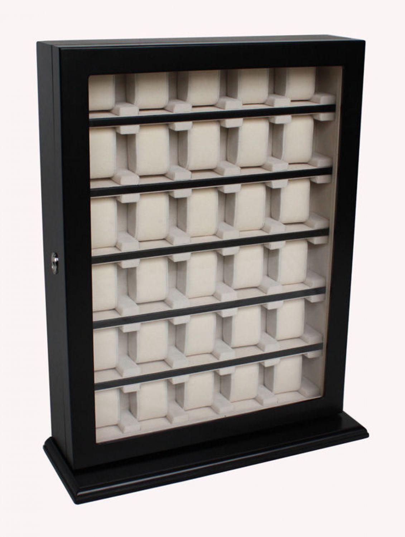 holz uhrenbox wandmontage f r 30 uhren bis 60 mm. Black Bedroom Furniture Sets. Home Design Ideas