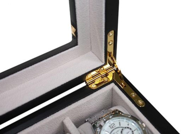 edle holz uhrenvitrine uhrenbox f r 12 uhren holzuhrenschatulle echtglas 1b ware 4260206439424. Black Bedroom Furniture Sets. Home Design Ideas
