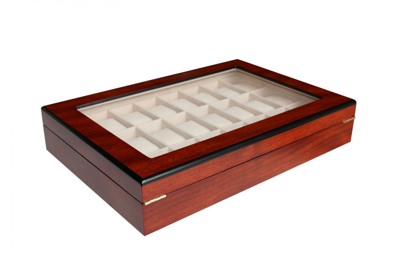 1b ware uhrenbox aus holz f r 24 uhren farbe kirsche uhrenvitrine ebay. Black Bedroom Furniture Sets. Home Design Ideas